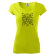 Egyedi motívumos lime színű női póló