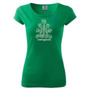 Zöld színű egyedi mintás női póló