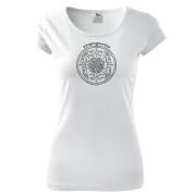 Fehér színű népi motívumos női póló