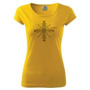 Sárga színű motívumos női póló