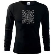 Fekete hosszú póló liliom népi motívummal