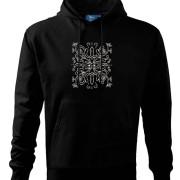 Fekete kapucnis férfi pulóver népi motívummal