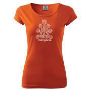 Gerinces népi mintás női narancs színű póló