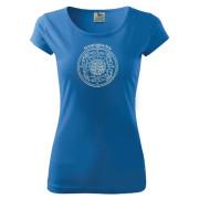 Kék színű női póló egyedi motívummal