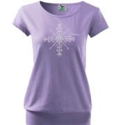 Lila színű női póló népi motívummal