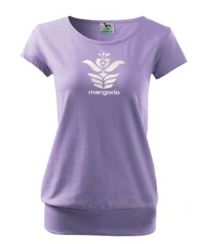 Lila színű női motívumos póló