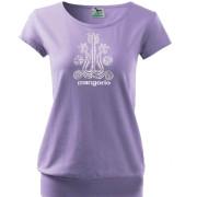 Lila színű motívumos póló