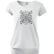 Liliom mintás női fehér póló