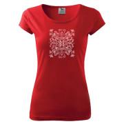 Piros női póló népi liliom motívummal