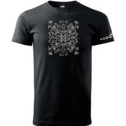 Fekete színű póló liliom mintás népi motívummal