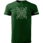 Magyar népi motívumos sötétzöld színű póló
