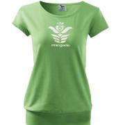 Magyar népi szűr motívumos női zöld póló