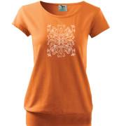 Narancs színű női póló népi liliom mintával