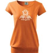 Narancs színű tulipános szűr mintás női póló