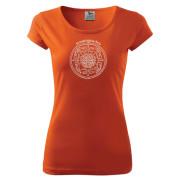 Narancs színű női póló kör mintával