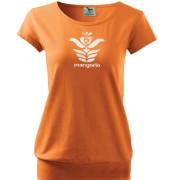 Narancssárga női póló angyalos szűr mintával
