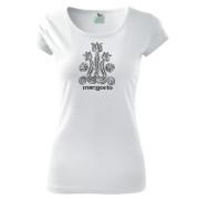 Népi motívumos női fehér színű póló