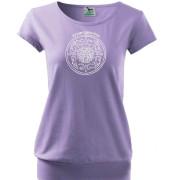 Női lila rövid ujjú póló népi mintával