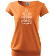 Női narancs póló nép gerinc motívummal