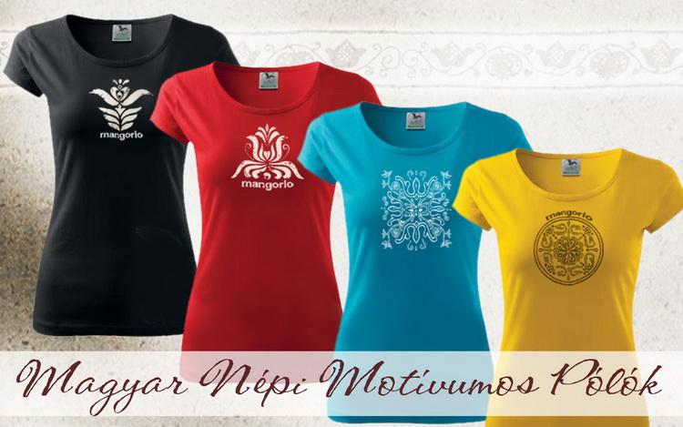 Női pólók szitanyomással magyar motívummal