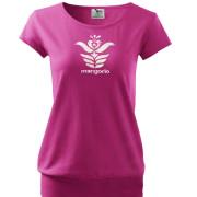 Pink színű női rövid ujjú póló motívummal