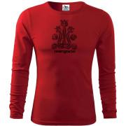 Férfi piros hosszú póló népi motívummal