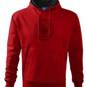 Piros kapucnis pulóver magyar népi kör motívummal