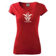 Piros női fazonú motívumos póló
