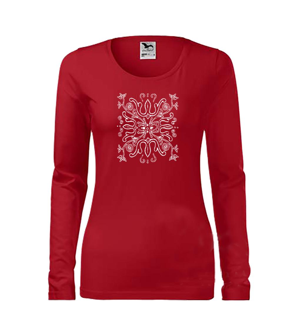 ... Piros női hosszú ujjú liliom motívummal Női hosszú ujjú póló ... 0a715868d1