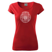 Pirosz színű női póló egyedi népi motívummal
