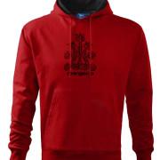 Piros színű férfi pulóver népi magyar mintával
