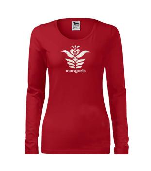 Piros színű női angyalos szűr mintás póló
