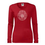 Piros színű női póló kör motívummal