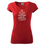 Piros szitanyomott női póló magyar mintával