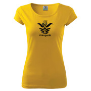 Sárga színű női póló népi motívummal