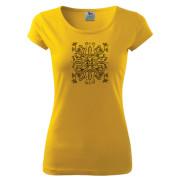 Sárga színű női póló liliom mintával