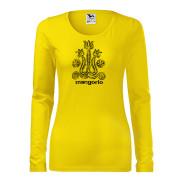 Sárga női póló magyar gerinces mintával
