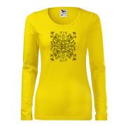 Sárga póló népi liliom motívummal