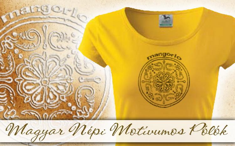 Sárga színű női pólók magyar motívumokkal