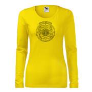 Sárga színű póló népi motívummal