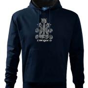 Sötétkék kapucnis pulóver magyar mintával