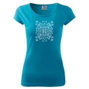 Liliom mintás türkizkék színű női póló