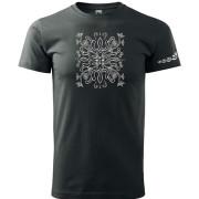 Unisex sötét szürke színű póló liliom motívummal