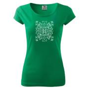 Zöld színű női póló egyedi népi motívummal