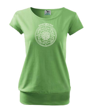 Zöld női póló kör motívummal