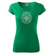 Népi motívumos zöld színű női póló