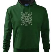 Zöld színű kapucnis pulóver magyar mintával