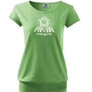 Zöld színű népi mintás póló