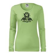 Zöld színű női póló népi motívummal