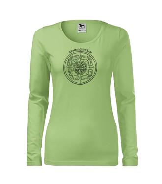 Zöld színű női póló kör mintával